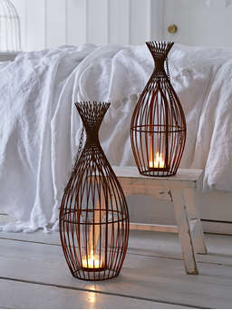 Nordic House Rusty Metal Hurricane Lamp
