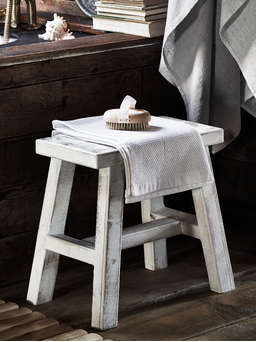 Nordic House Rustic Wooden Milking Stool - White Washed