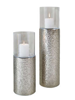 Nordic House Silver Floor Standing Hurricane Lamps