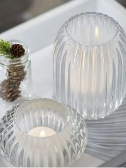 Nordic House Rilled Glass Tealights - White