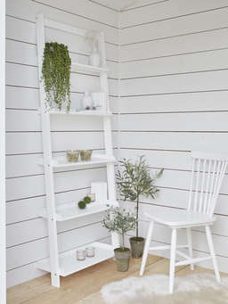 Nordic House White Wooden Shelf Ladder