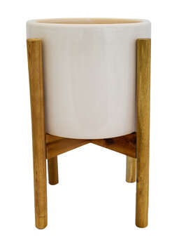 Nordic House White Planter and Stand Set