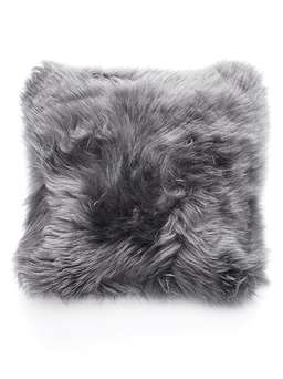 Nordic House Luxurious Sheepskin Cushion - Grey