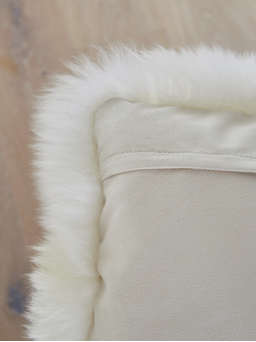 Nordic House Luxurious Sheepskin Cushion - Ivory