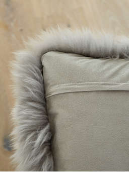 Nordic House Luxurious Sheepskin Cushion - Light Grey
