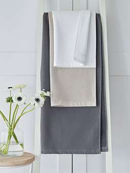 Nordic House Dark Grey Waffle Terry Towels