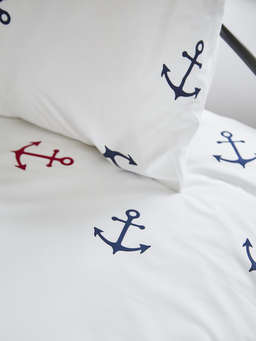 Nordic House Bed Set Nautical Anchors - Navy/Red