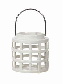 Nordic House Off-White Ceramic Lantern