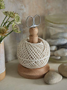 Nordic House Oak String Tidy with Scissors