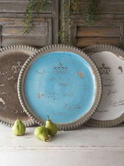 Nordic House Round Vintage Tray - Ocean Blue