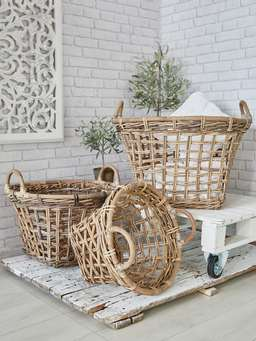 Nordic House Large Rattan Basket Set
