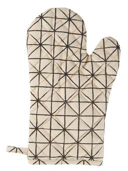 Nordic House Geometric Print Oven Gloves - Ivory