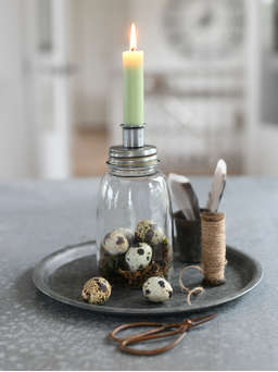 Nordic House Retro Jar Candle Holder - Zinc