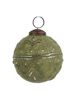 Nordic House Soft Green Bauble - Wavy