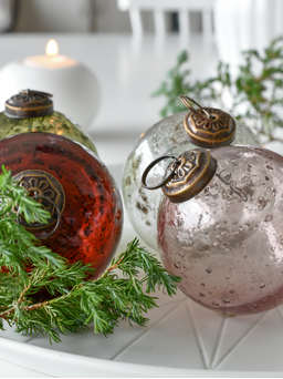 Nordic House Vintage Olive Green Glass Bauble