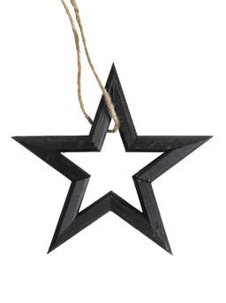 Nordic House Black Wooden Star Set