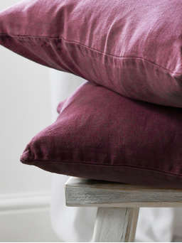 Nordic House Deep Plum Linen Cushion
