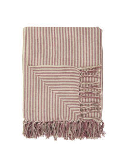 Nordic House Striped Throw - Cream & Pink