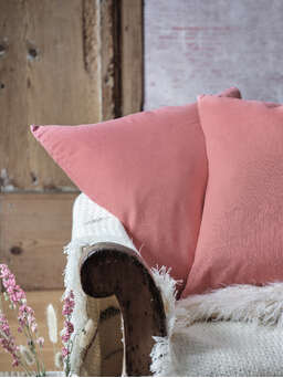Nordic House Faded Rose Linen Cushion