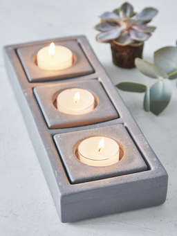 Nordic House Triple Ceramic Tealight Holder - Grey