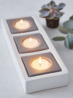Nordic House Triple Ceramic Tealight Holder - White