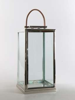 Nordic House Stainless and Leather Lantern