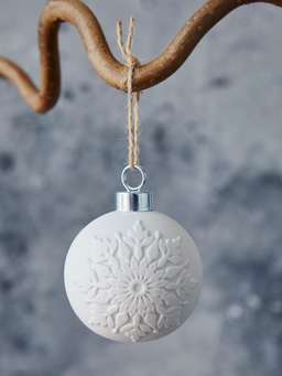 Nordic House White Porcelain Bauble