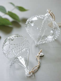 Nordic House Beaded Glass Teardrop Ornament