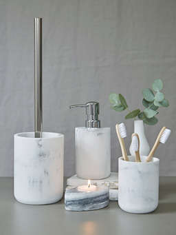Nordic House Marble Effect Toilet Brush Set