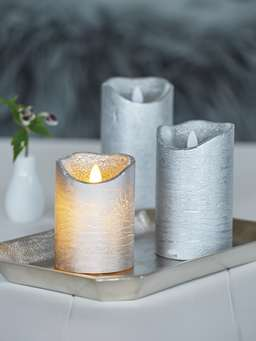 Nordic House Silver LED Pillar Candles