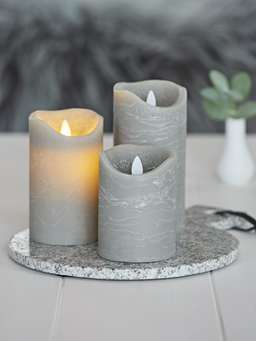 Nordic House Grey LED Pillar Candle
