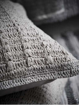 Nordic House Crochet Cushion - Natural Stone