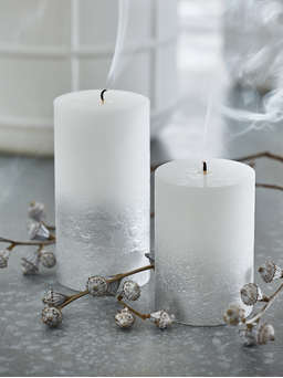 Nordic House Silver Ombre Pillar Candles