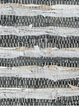 Nordic House Striped Recycled Leather Rug