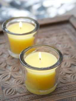 Nordic House Yellow Glass Candle Votive