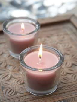 Nordic House Powder Rose Glass Candle Votive
