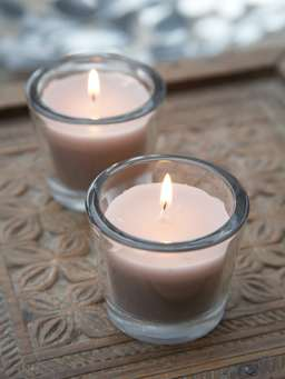 Nordic House Linen Glass Candle Votive