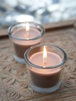 Nordic House Dark Linen Glass Candle Votive