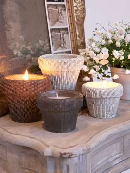 Nordic House Wicker Candle Pots - Chocolate Brown