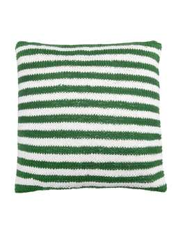 Nordic House Knitted Green Cushion - Narrow Stripe