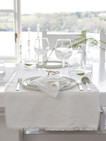 White Frayed Edge Linen Table Runner