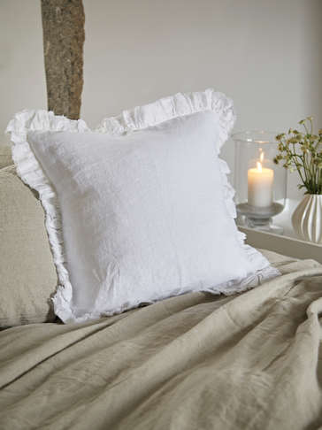 Linen Ruffle Edge Cushion - White