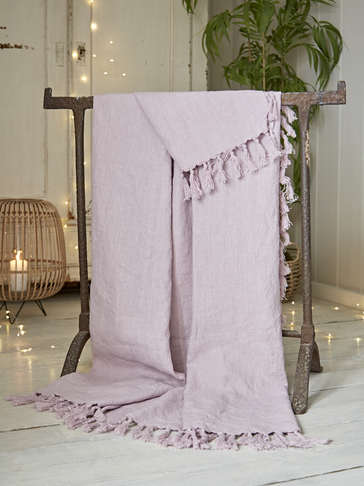 Fringed Linen Throw - Heather Pink