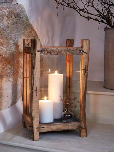 Reclaimed Wood Candle Lantern - XL