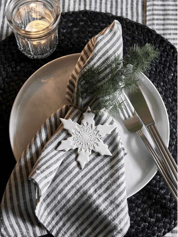 Black Stripe Linen Napkins