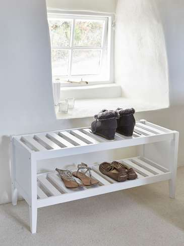 White Wooden Shoe Rack