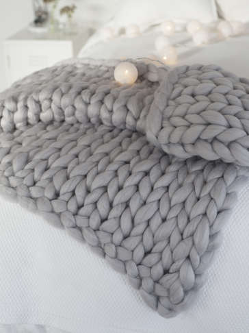 Super Chunky Knit Blanket - Light Grey