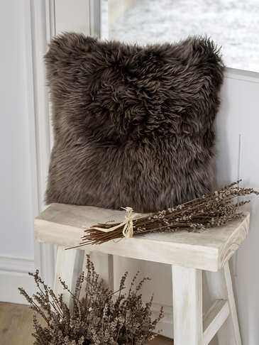 Luxurious Sheepskin Cushion - Walnut