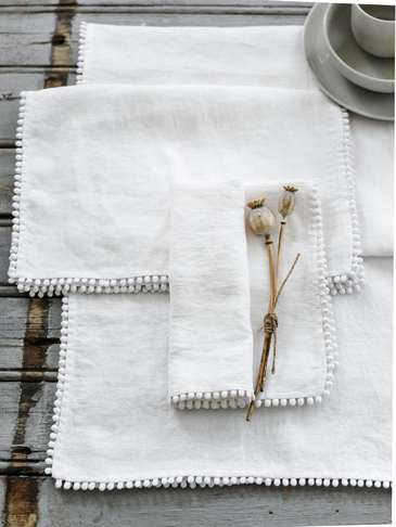 White Pom Pom Table Linen