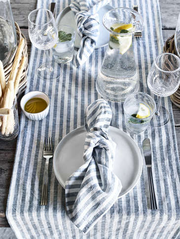 Striped Blue Table Linen